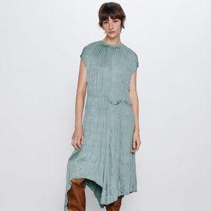 ZARA Aqua Green Wrinkle Look Midi Dress